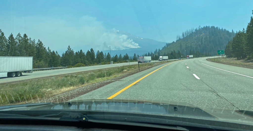 Forest fire near Weed